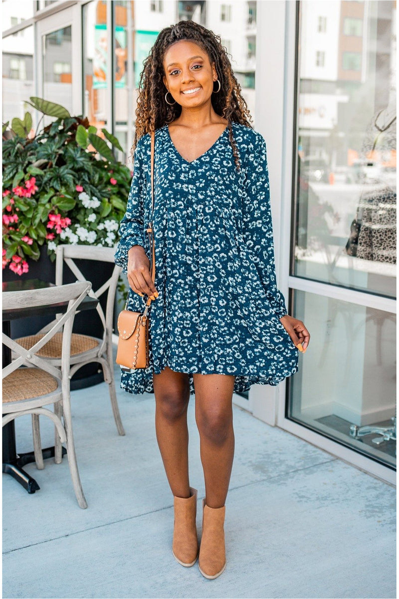 Navy Floral Long Sleeve Dress - BluePeppermint Boutique