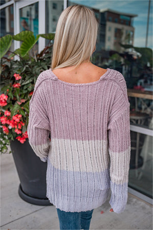 Mauve Chenille Striped Sweater - BluePeppermint Boutique