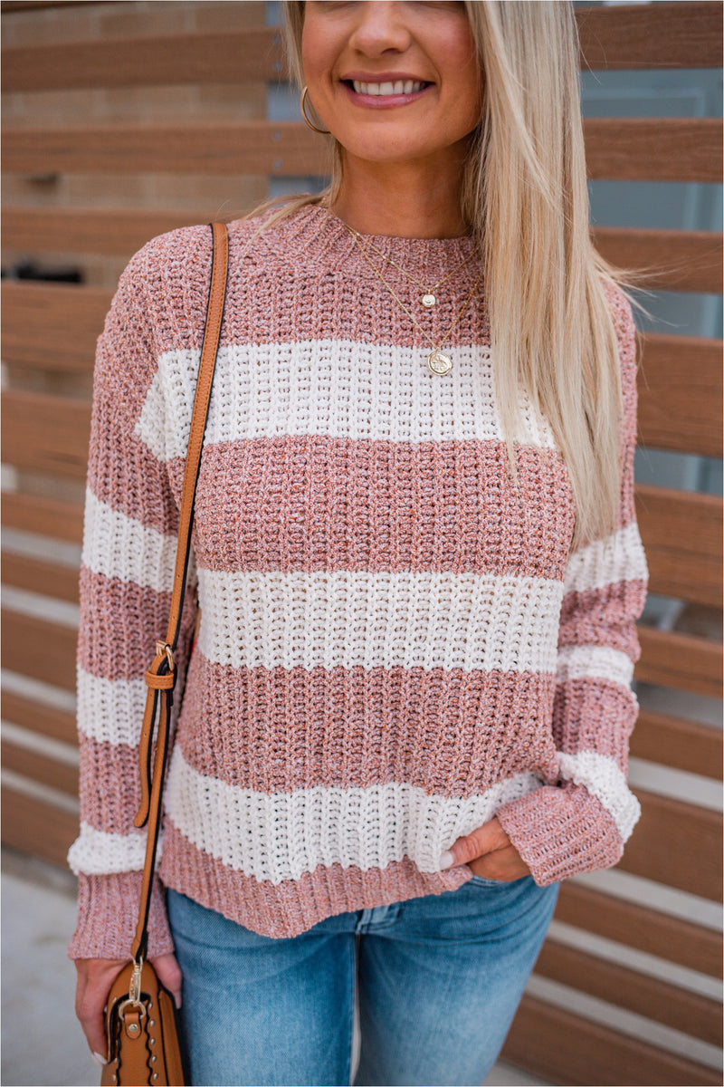 Rust Chenille Striped Sweater - BluePeppermint Boutique