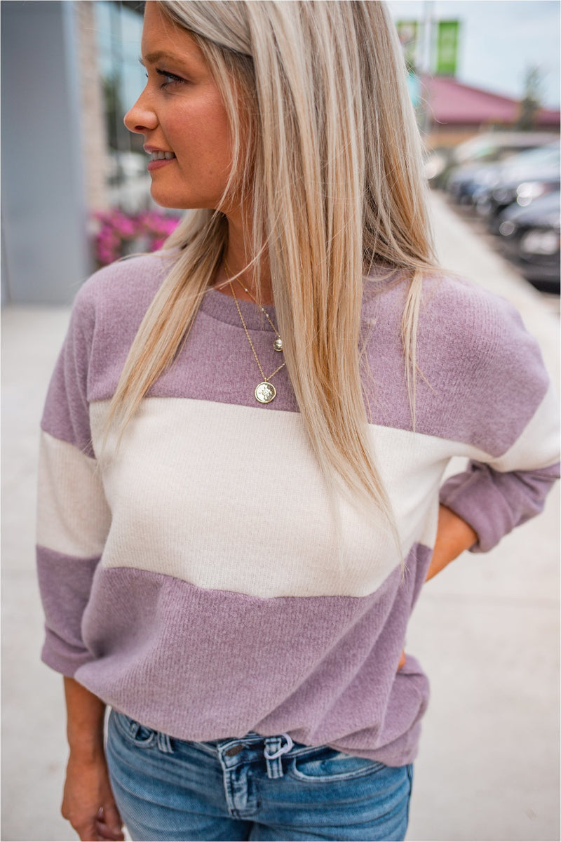 Lavender/Ivory Color Block Top - BluePeppermint Boutique
