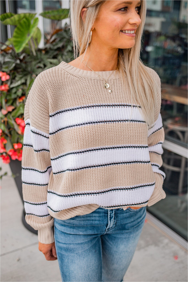 Oatmeal Striped Knit Sweater - BluePeppermint Boutique