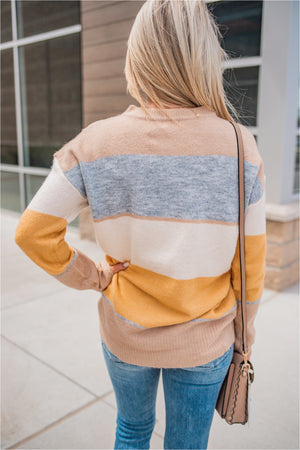 Mustard/Taupe Soft Striped Sweater - BluePeppermint Boutique