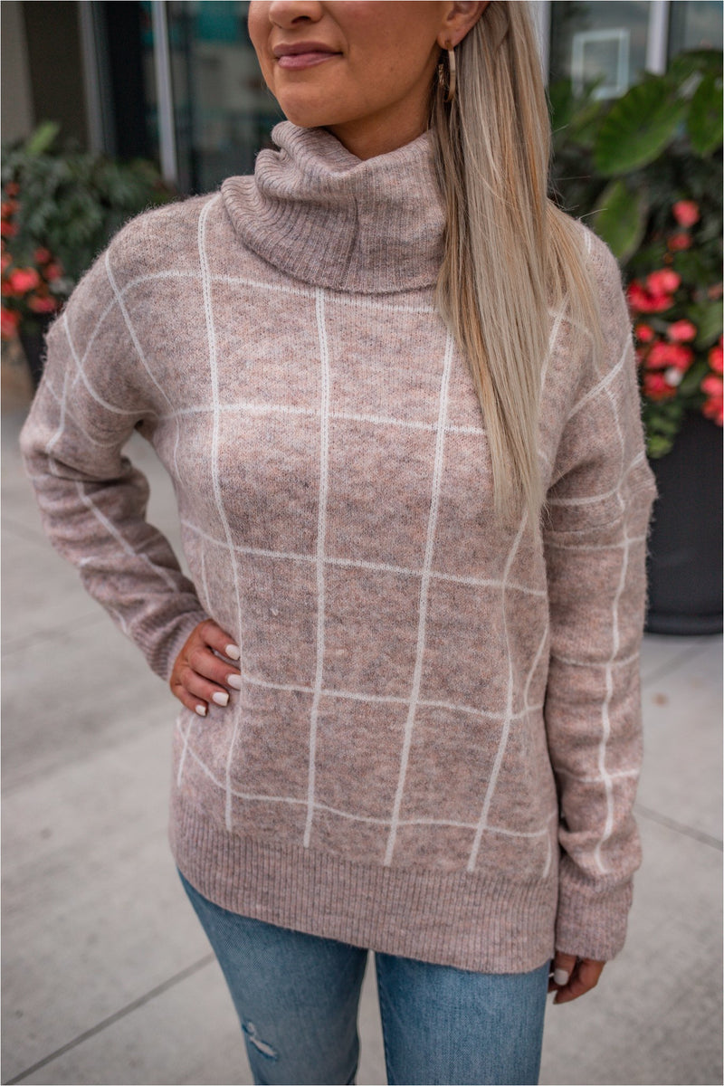 Windowpane Cowl Neck Sweater - Oatmeal - BluePeppermint Boutique