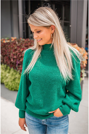 Mock Neck Puff Sleeve Sweater - Green - BluePeppermint Boutique