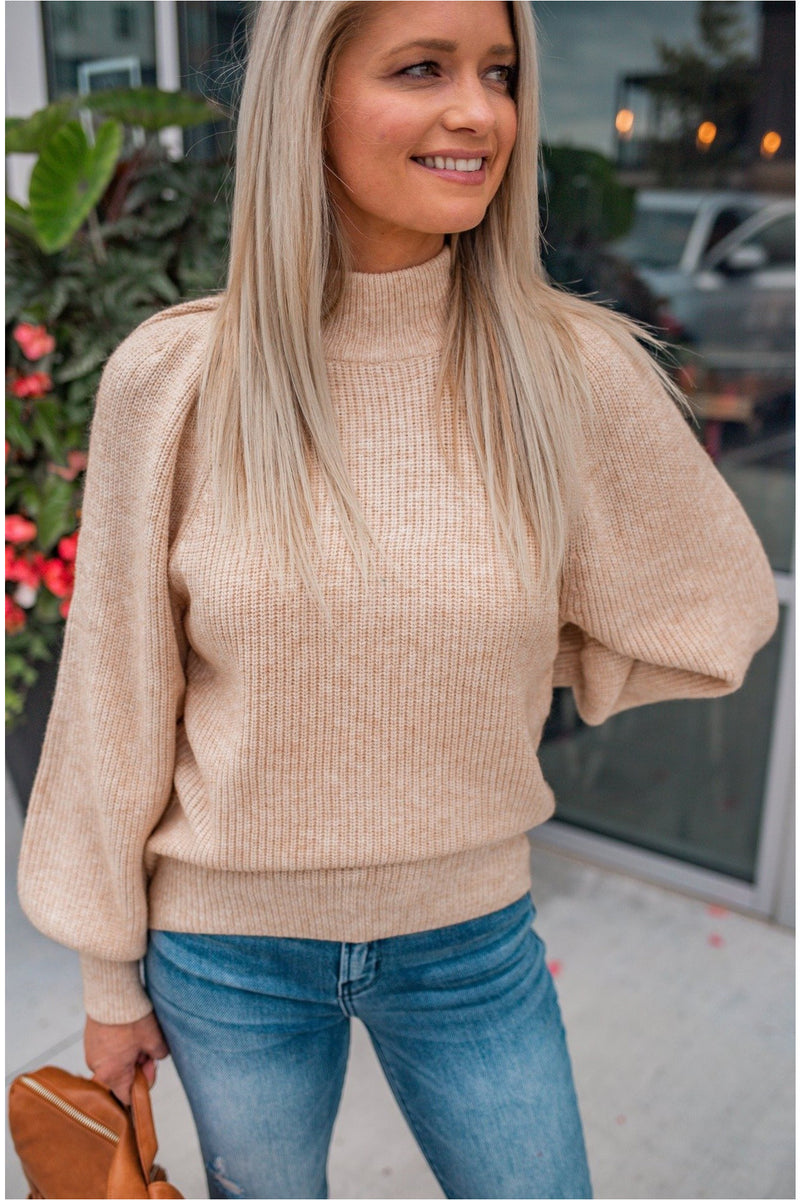 Mock Neck Puff Sleeve Sweater - Oatmeal - BluePeppermint Boutique