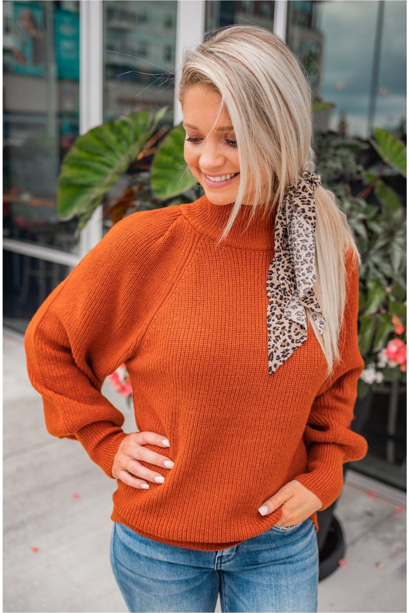 Mock Neck Puff Sleeve Sweater - Rust - BluePeppermint Boutique