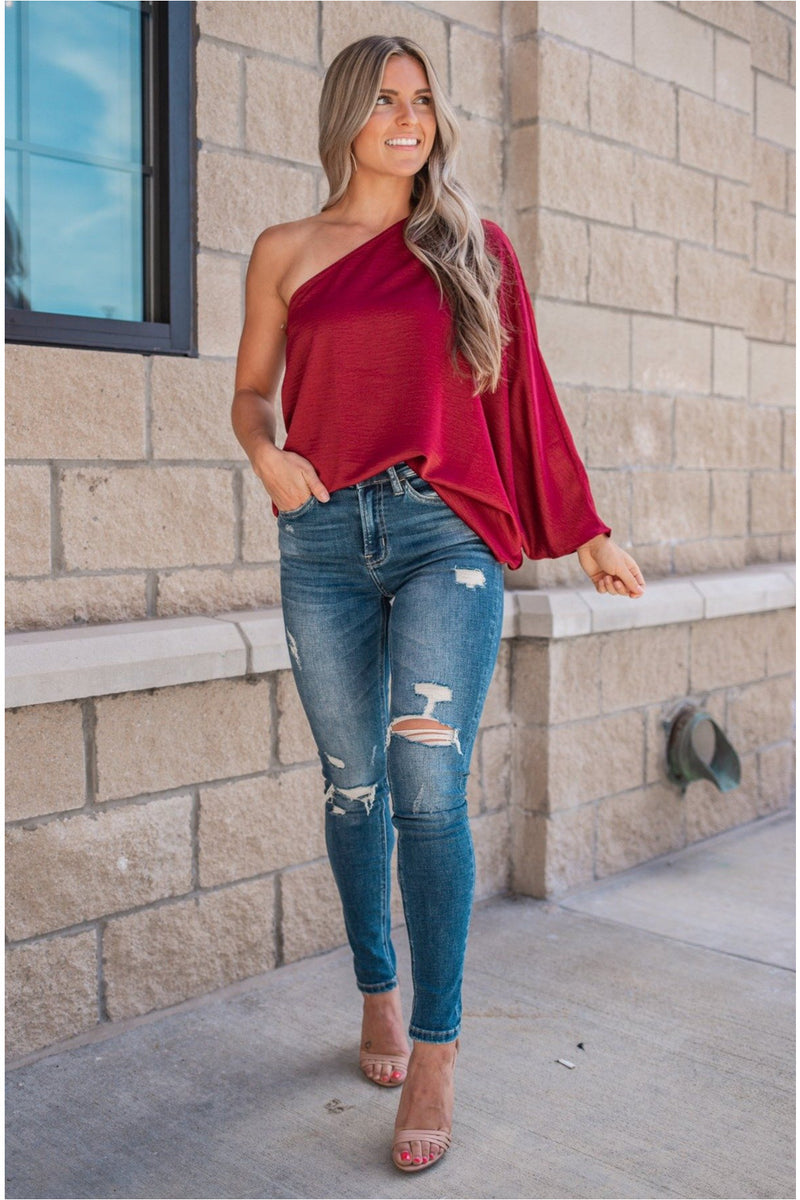 One Shoulder Top - 3 COLORS - BluePeppermint Boutique
