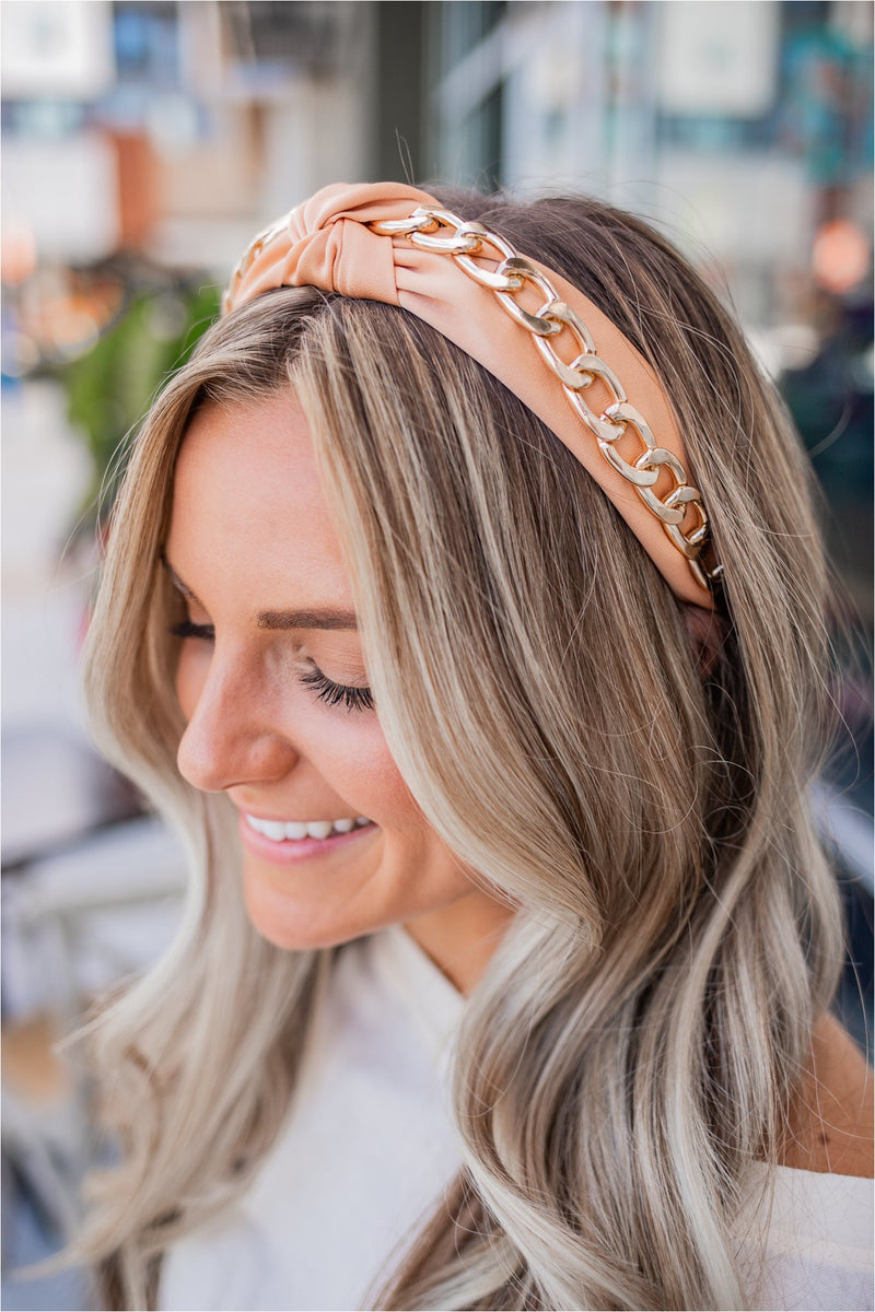 Peach Gold Chain Headband - BluePeppermint Boutique