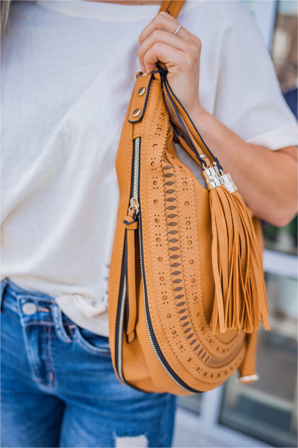 Camel Fringe Tassel Hobo Bag - BluePeppermint Boutique