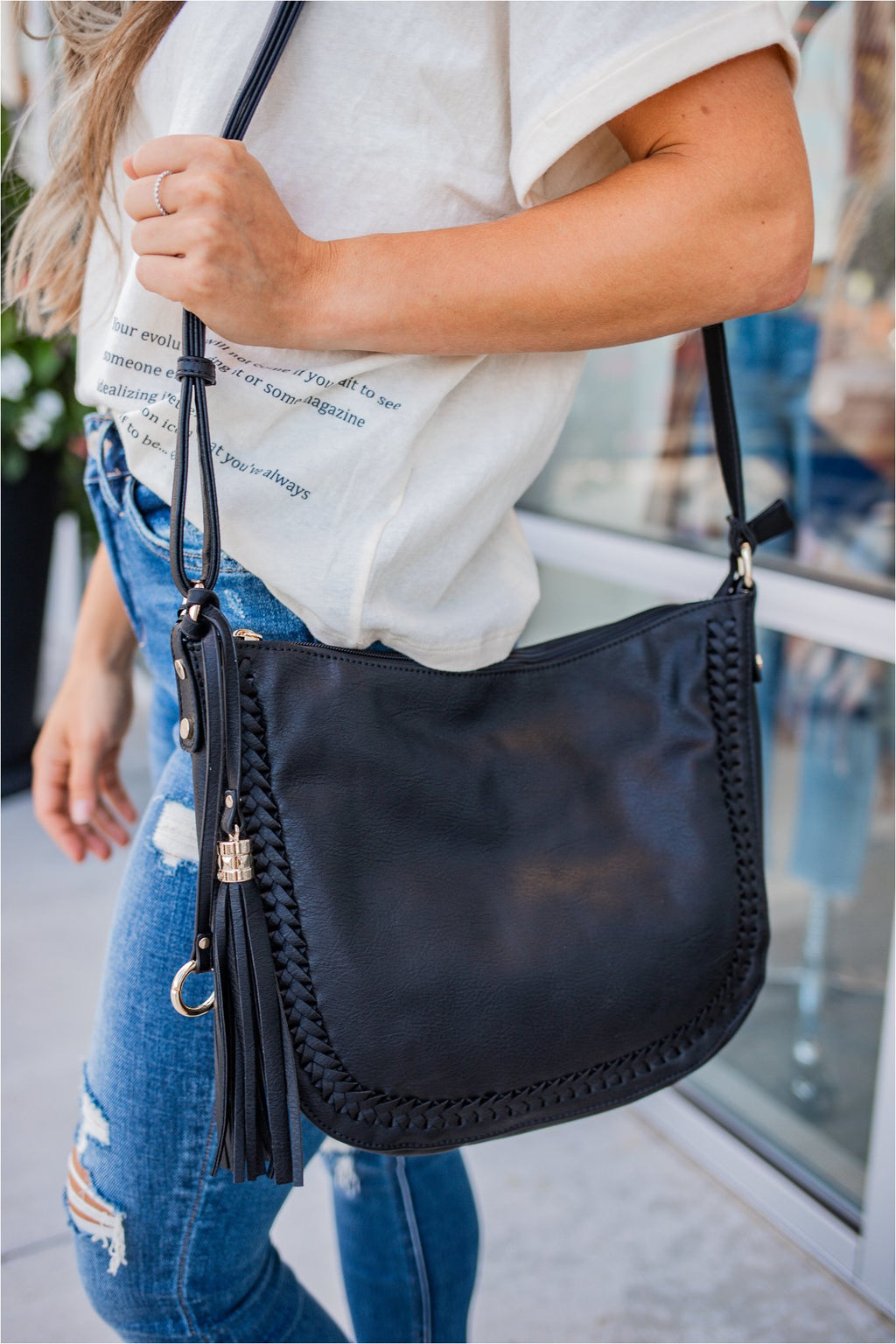 Braided Hobo Bag - Black - BluePeppermint Boutique