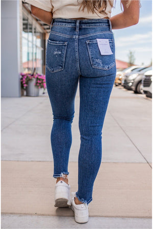 Funstone High Rise Broken Hem Ankle Jean - BluePeppermint Boutique