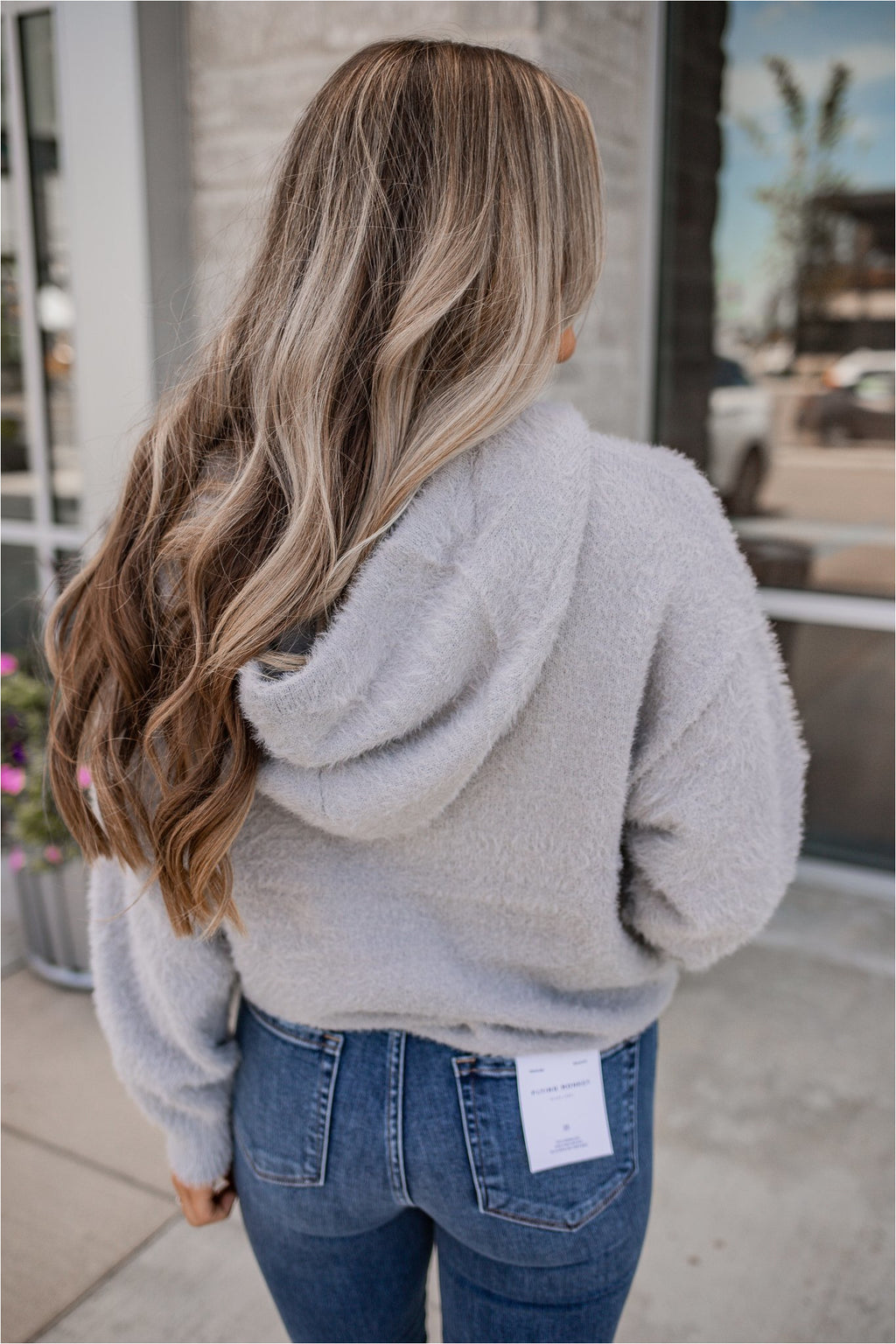 Grey Dreamin' Fuzzy Hoodie - BluePeppermint Boutique