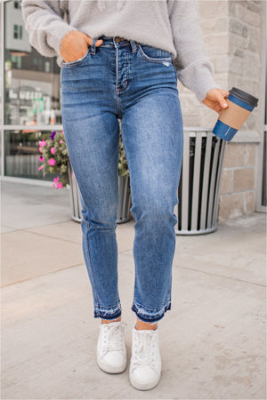 Battle Scars High Rise Hidden Button Fly Ankle Jeans - BluePeppermint Boutique