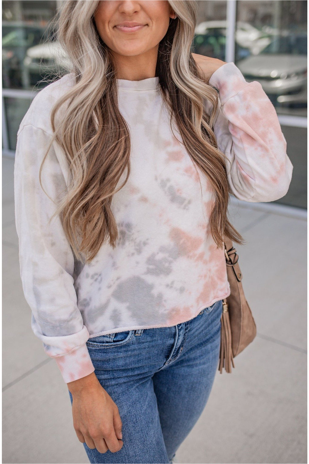 Pink/Grey Tie Dyed Crop Long Sleeve - BluePeppermint Boutique