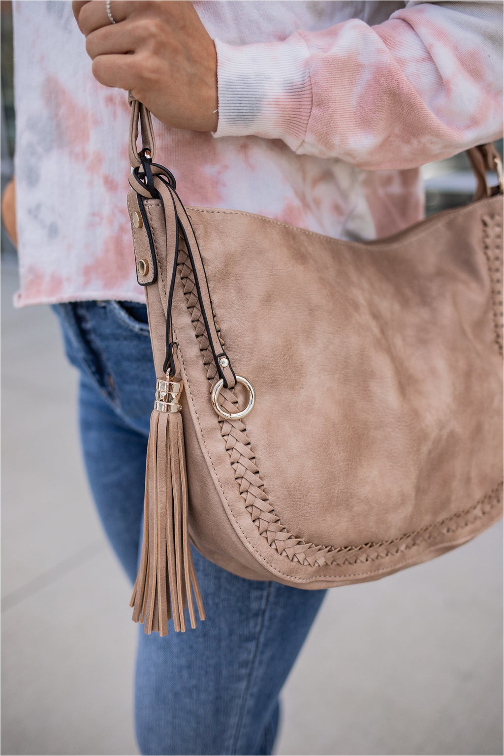 Braided Hobo Bag - Taupe - BluePeppermint Boutique