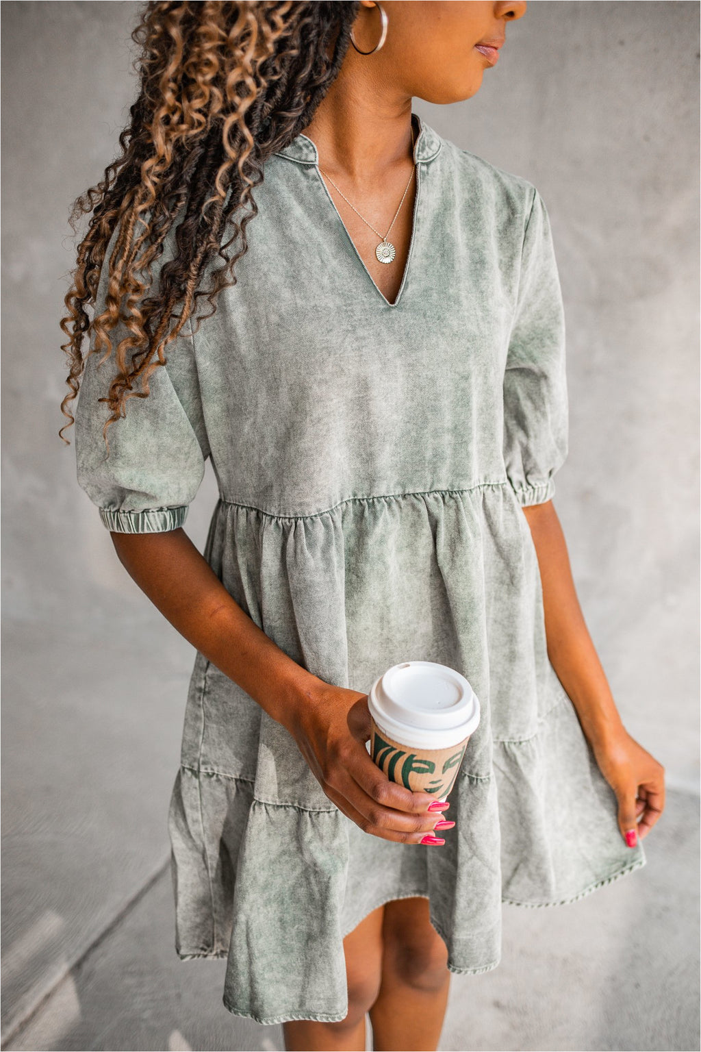Washed Olive Denim Dress - BluePeppermint Boutique