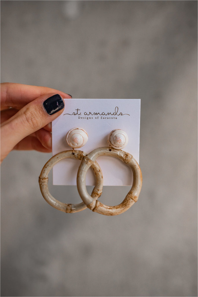 St. Armands Bamboo Shell Drops - BluePeppermint Boutique