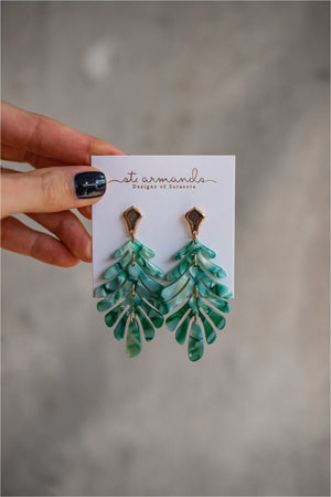 St. Armands Petite Palm Drops - Green - BluePeppermint Boutique