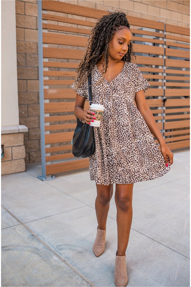 Leopard Print Babydoll Dress - BluePeppermint Boutique