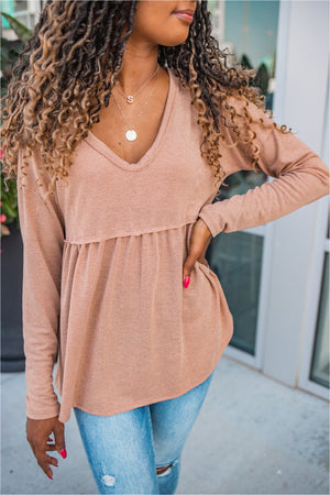 Cocoa Long Sleeve Babydoll Top - BluePeppermint Boutique