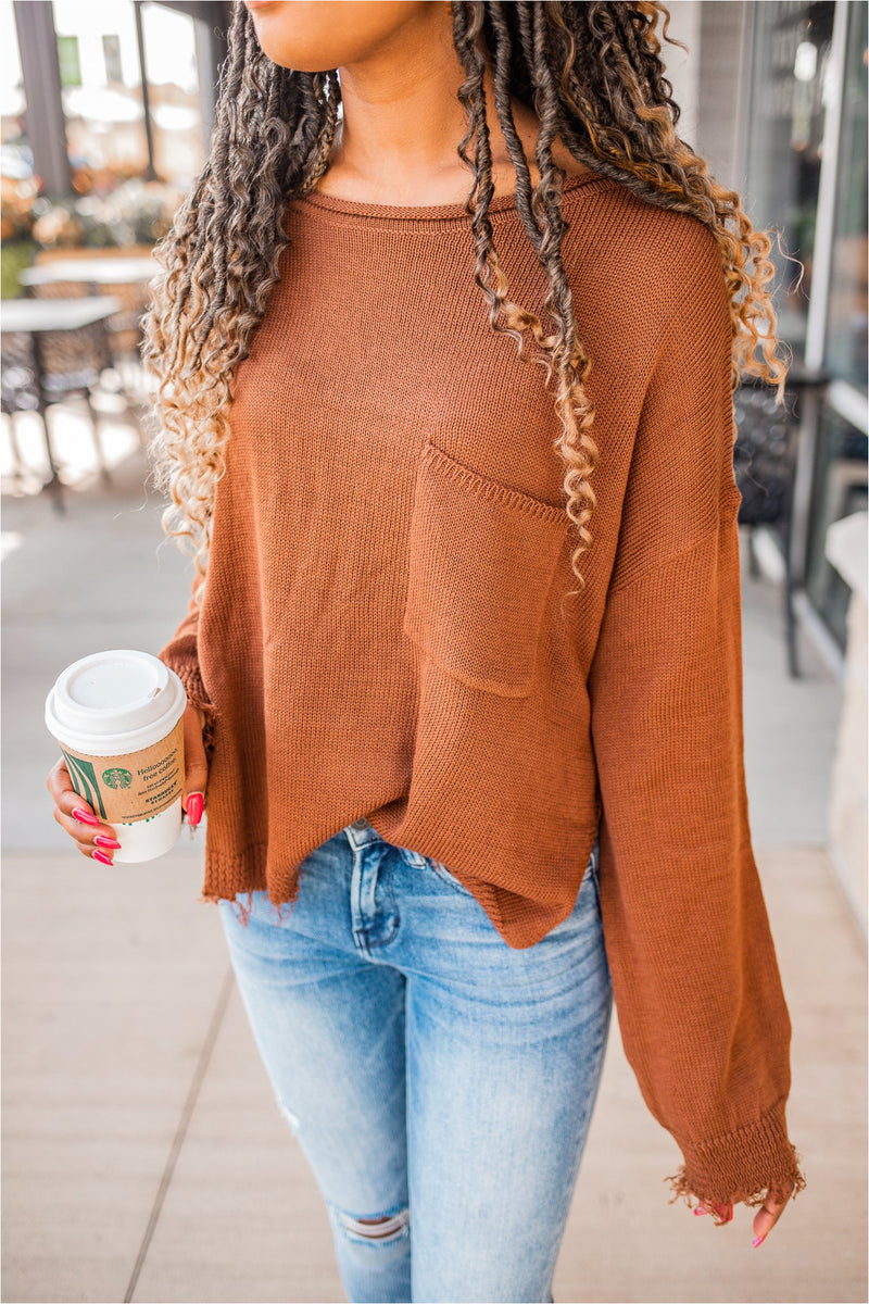 Fringe Front Pocket Sweater - Brown - BluePeppermint Boutique