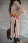 Taupe Knit Knee Length Cardigan - BluePeppermint Boutique