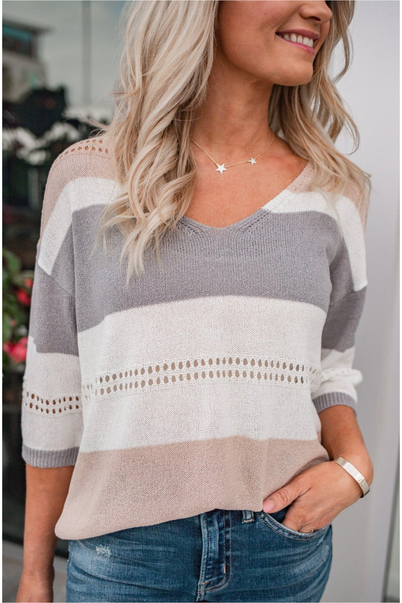 Striped Eyelet Lightweight Sweater - Grey