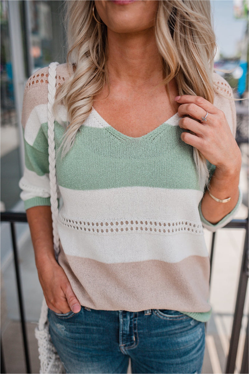 Striped Eyelet Lightweight Sweater - Mint