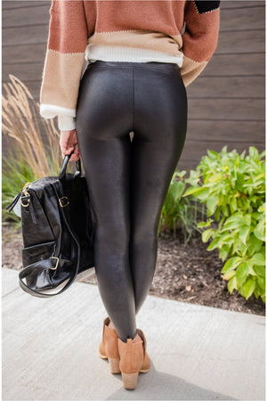 Spanx Faux Leather Leggings - Black - BluePeppermint Boutique