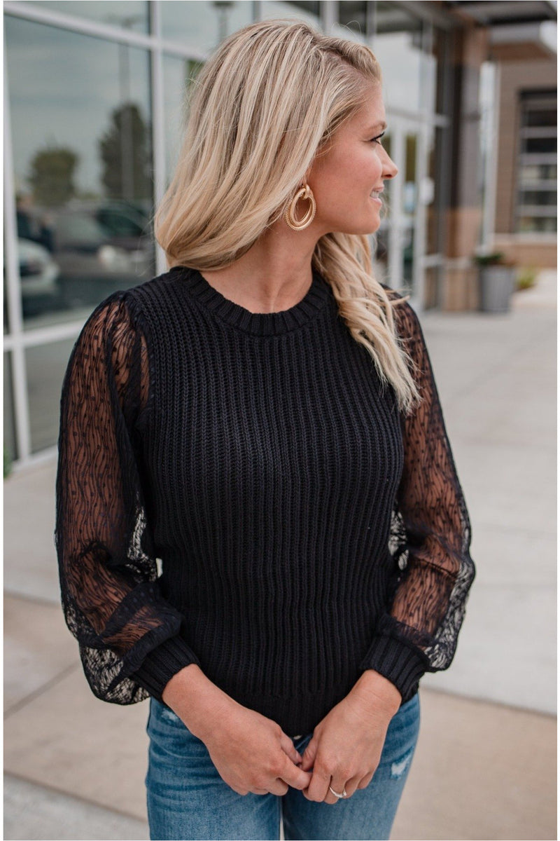 Sheer Sleeve Sweater - Black