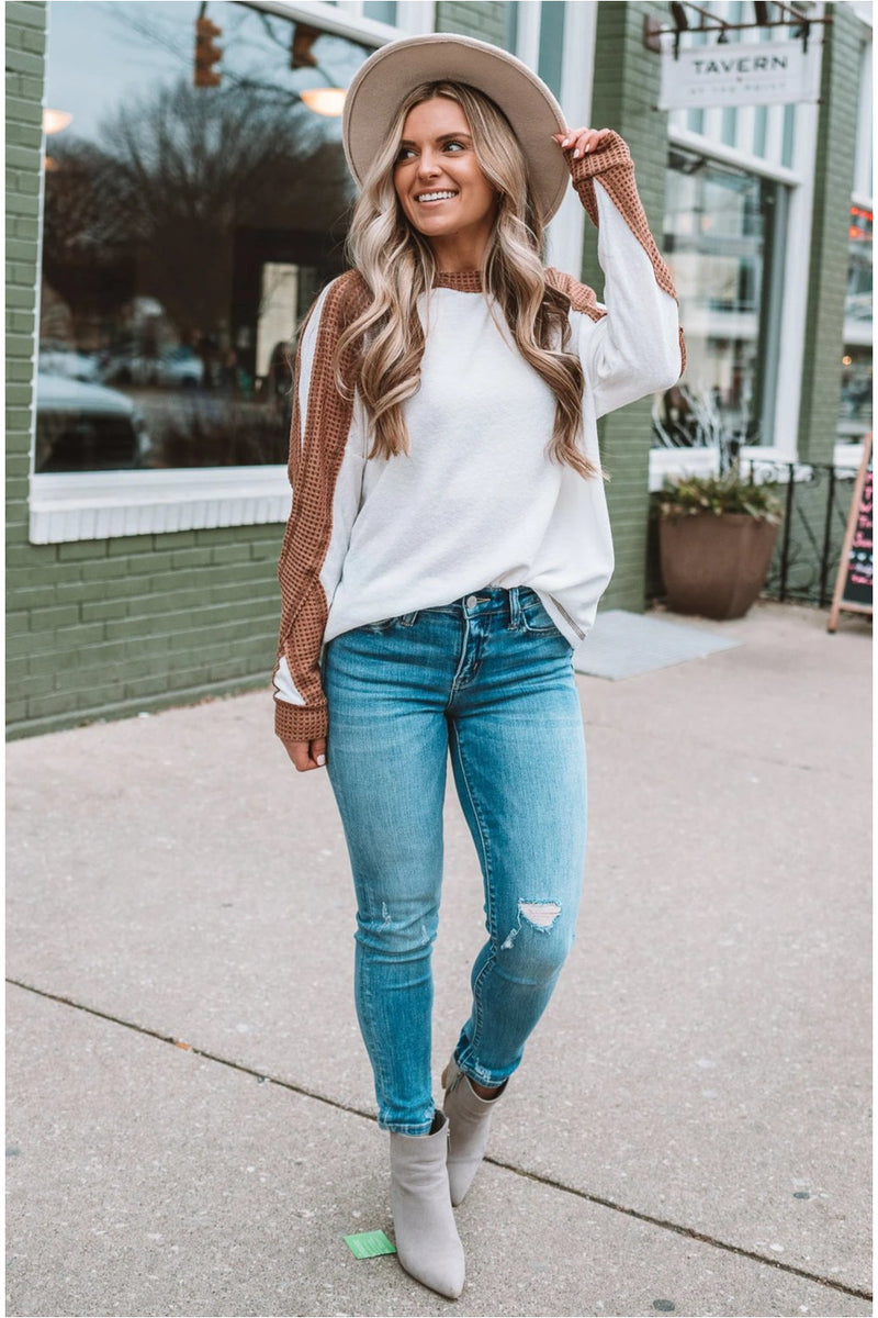 Ivory/Brown Contrast Top