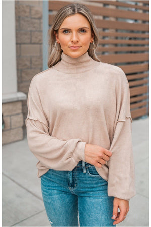 Sand Mock Neck Ribbed Long Sleeve - BluePeppermint Boutique