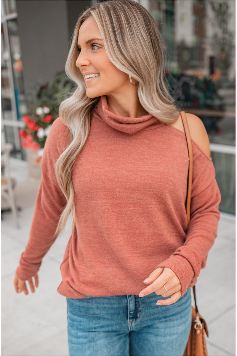 High Neck One Shoulder Sweater - Rust - BluePeppermint Boutique