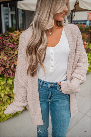 Taupe Plush Dolman Cardigan - BluePeppermint Boutique
