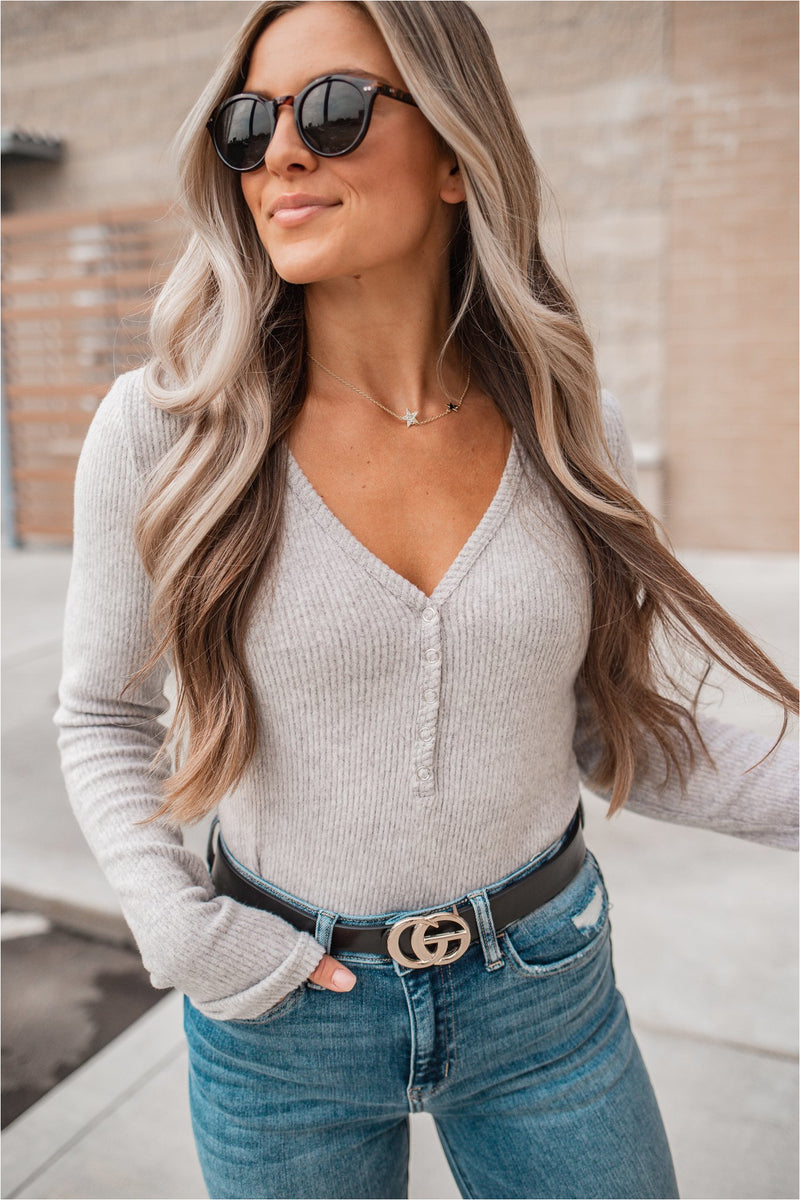 Ribbed V-Neck Henley - Grey - BluePeppermint Boutique