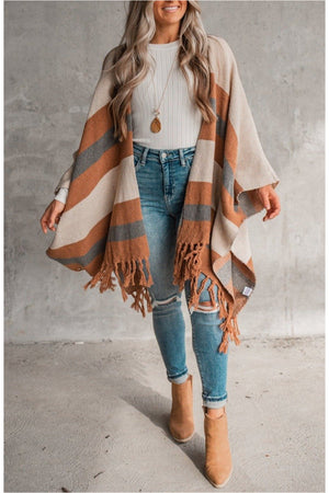 Camel Striped Fringe Poncho - BluePeppermint Boutique