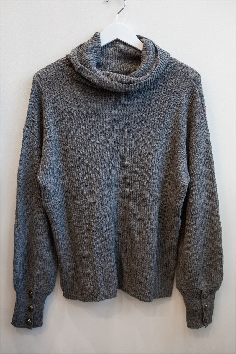 Grey Button Wrist Cowl Neck Sweater