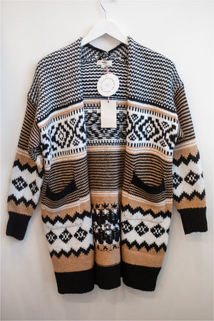 Camel/Black Geo Knit Cardigan - BluePeppermint Boutique