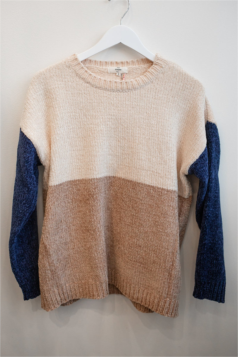 Color Block Chenille Sweater-Navy - BluePeppermint Boutique