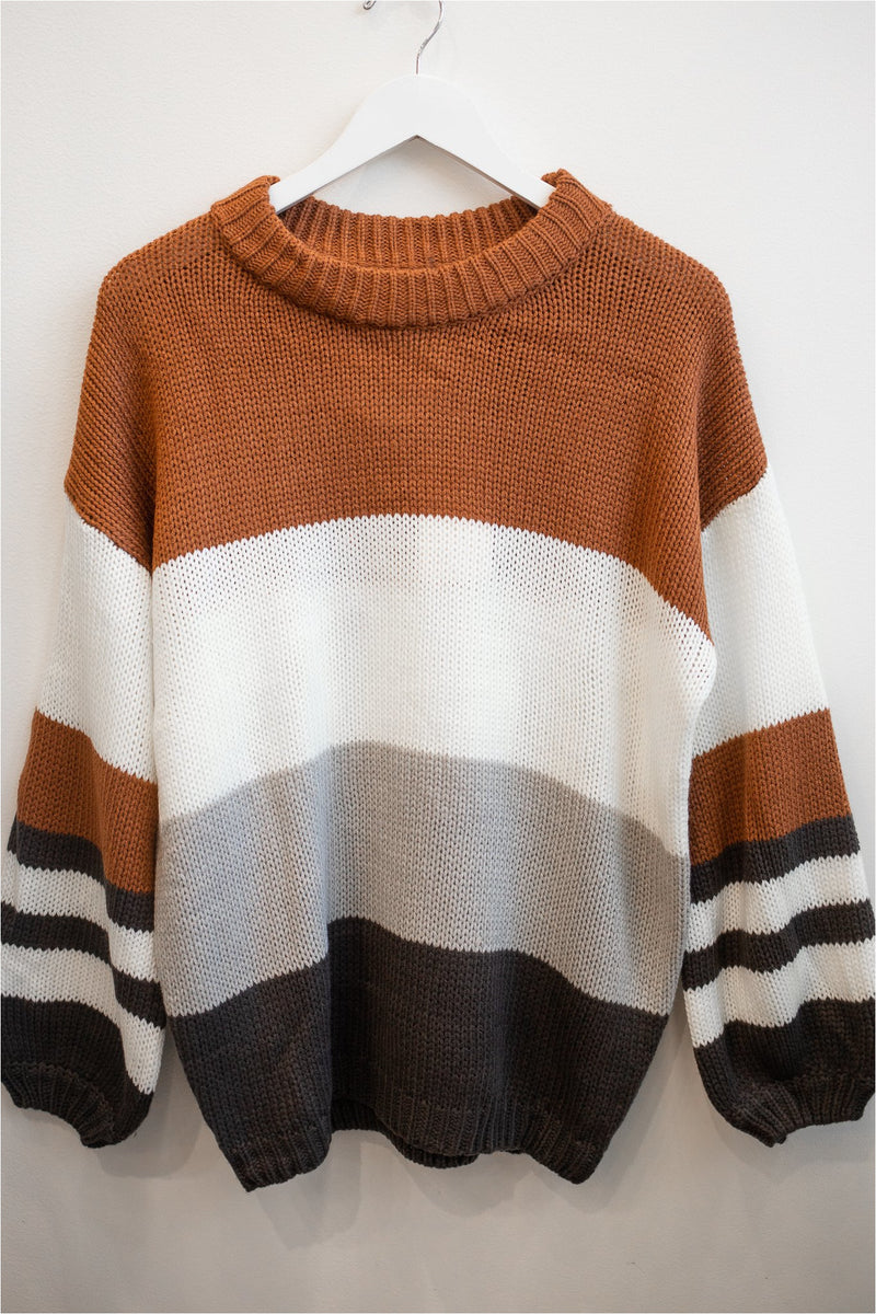 Stripe and Color Block Sweater - BluePeppermint Boutique