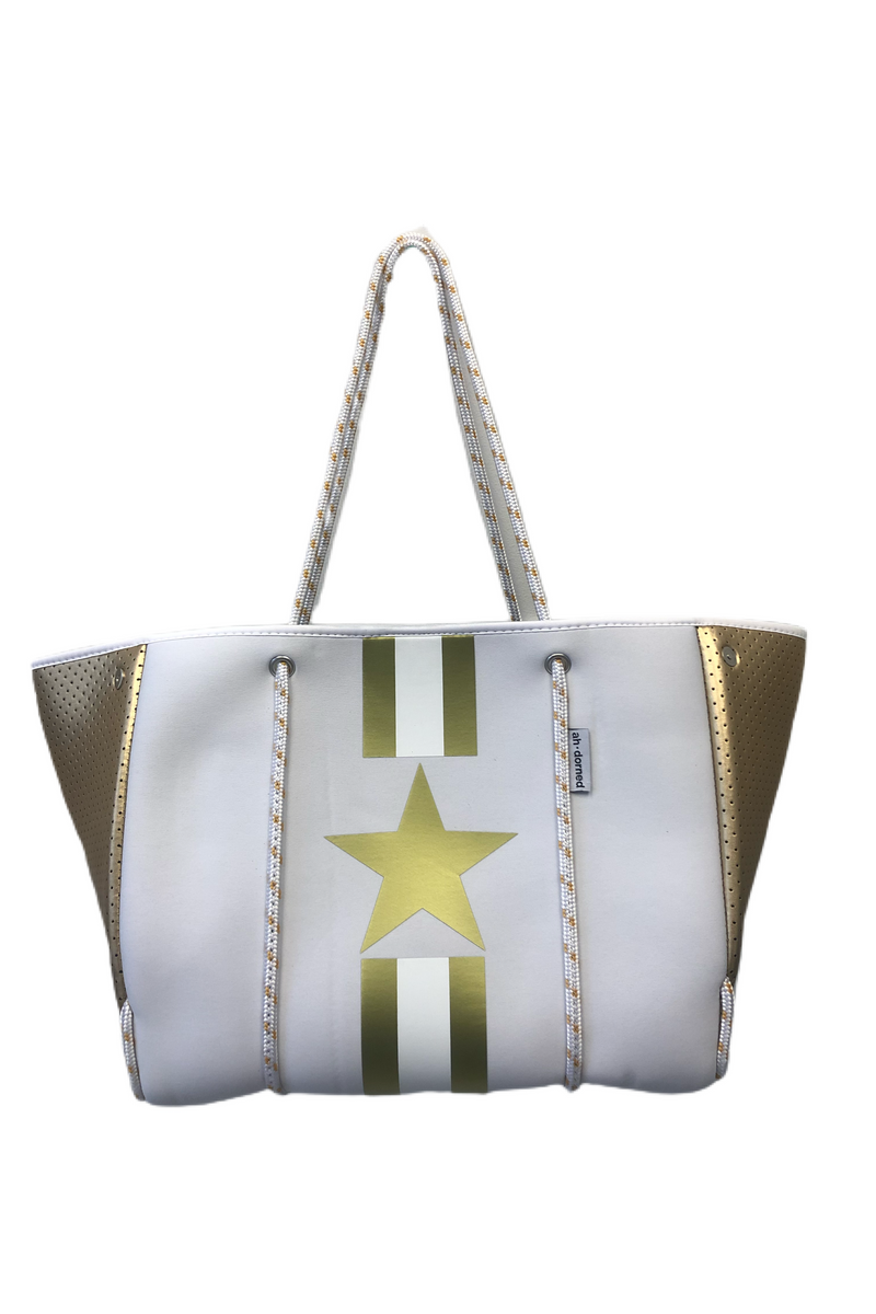 Neoprene Tote w/Stripes & Star - BluePeppermint Boutique