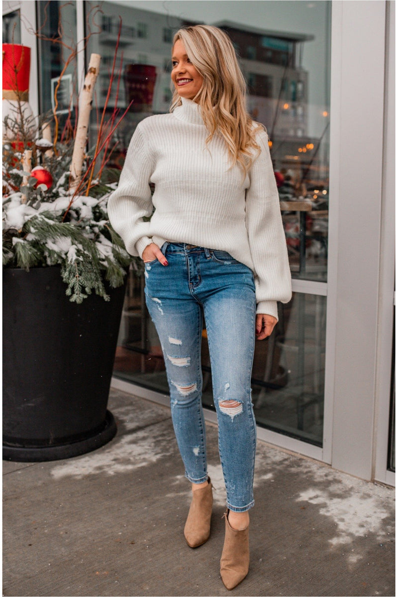 Ribbed Knit Turtleneck - Cream - BluePeppermint Boutique