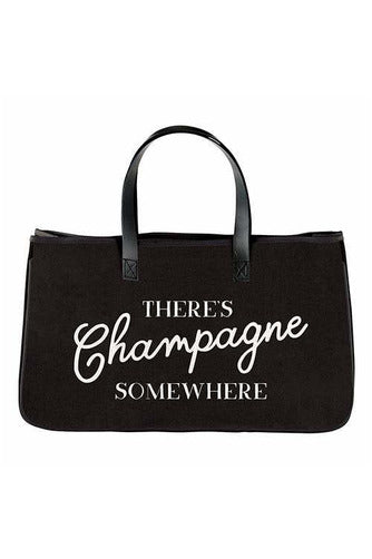 Champagne Somewhere Canvas Tote - BluePeppermint Boutique