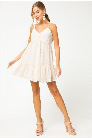 Dotted Swiss Tiered Babydoll Dress-Natural