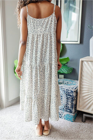 Ivory Navy Floral Tiered Maxi Dress - BluePeppermint Boutique