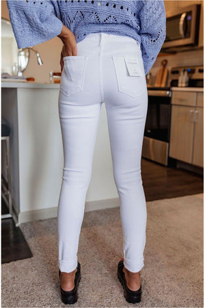 Optic White High Waisted Skinny Jean - BluePeppermint Boutique