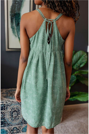 Double Strap Printed Dress-Green - BluePeppermint Boutique
