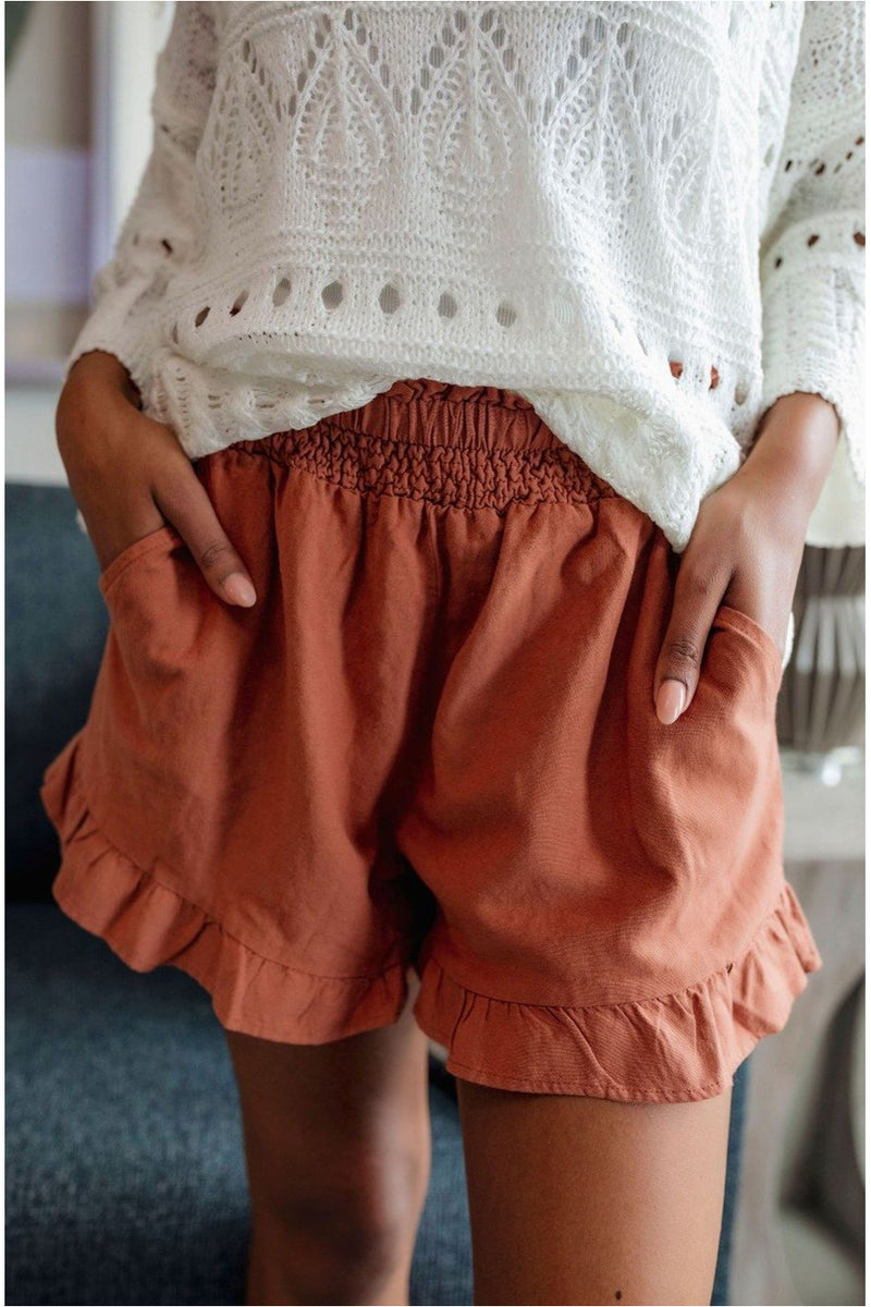 Smocked Ruffle Linen Shorts- Brick - BluePeppermint Boutique