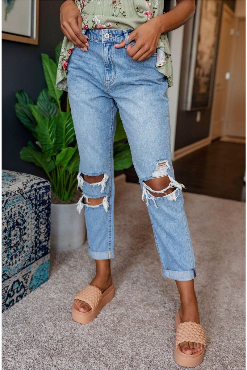 Battleship High Rise Mom Jean - BluePeppermint Boutique
