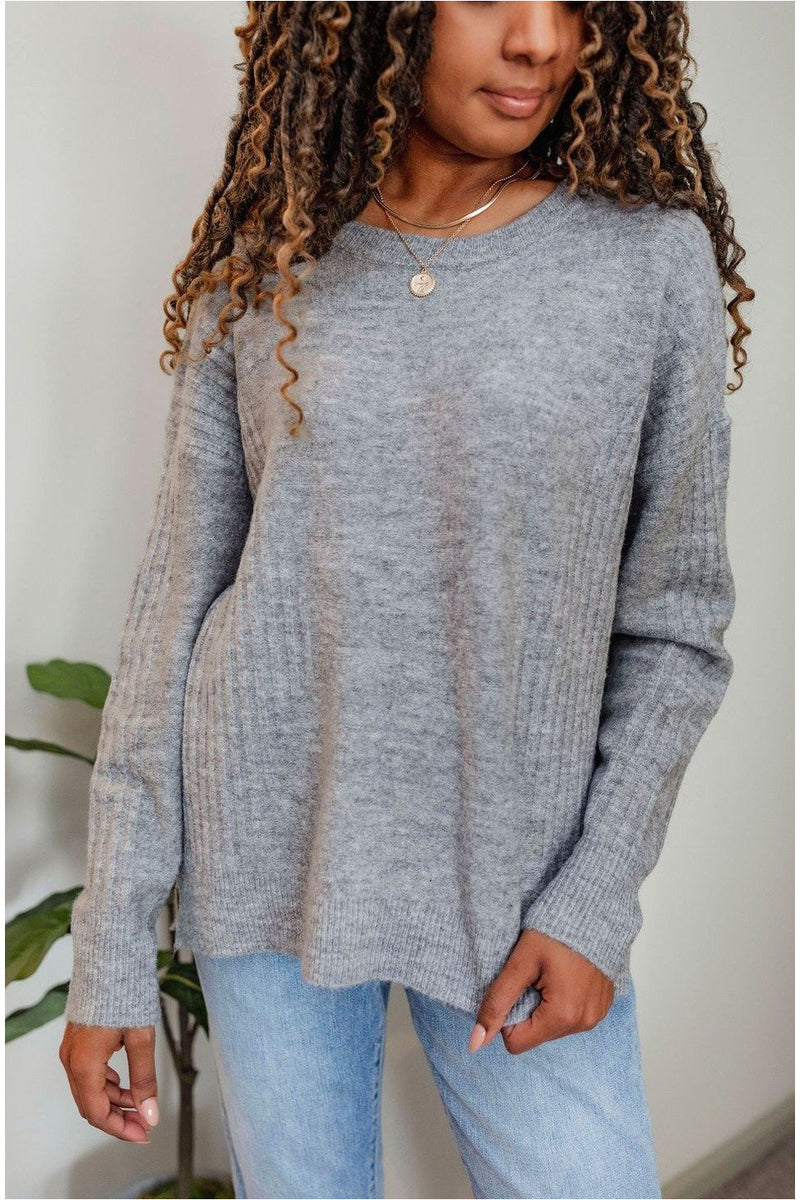 Heather Grey Ribbed Knit Sweater - BluePeppermint Boutique
